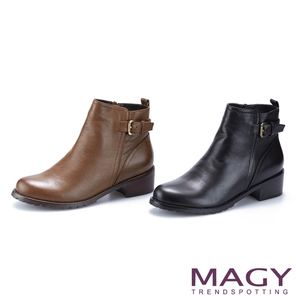 MAGY 皮帶金屬釦環真皮粗跟 女 短靴 黑色