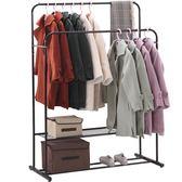室內衣架落地臥室單雙桿式晾衣桿家用簡易掛衣架涼衣服摺疊曬架子igo 時尚潮流