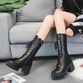 中筒靴 靴子女新款秋冬粗跟高跟中筒靴英倫百搭瘦腳馬丁靴直筒機車靴  魔法鞋櫃
