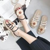 韓版涼鞋女夏平底新款百搭學生露趾花朵舒適兩穿羅馬沙灘鞋子