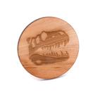芬多森林|台灣檜木客製化杯墊-龍骨款,侏儸紀恐龍防燙茶杯隔熱墊,無漆木製高品質雷射雕刻