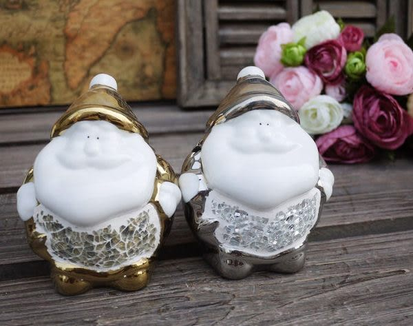 【銀光:胖胖聖誕老人】陶瓷燭台時尚工藝品2個組