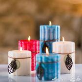 精油香薰蠟燭浪漫歐式柱豆蠟無煙香氛蠟燭家用 優家小鋪