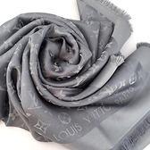 【奢華時尚】LV 煤炭灰色Monogram金銀刺繡絲質混羊毛圍巾  (全新)#22508