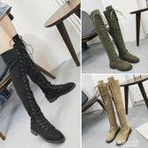 機車馬丁靴女夏季英倫風復古過膝靴長筒高筒靴繫帶大腿靴 東京衣秀