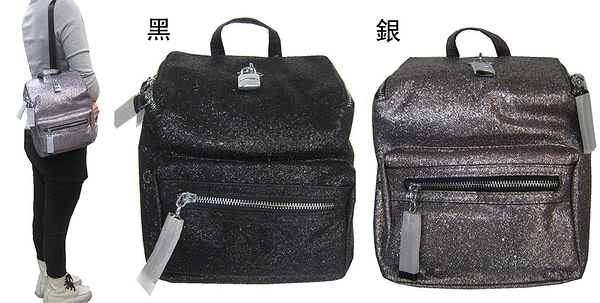 ~雪黛屋~COUNT 後背包小容量主袋+外袋共二層輕量防水水晶亮片布+牛皮革BCD50003801200