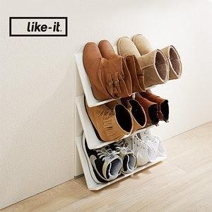 日本like-it 可擴充斜取開放式3層鞋架/書架白