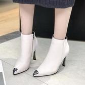 靴子女短靴細跟馬丁靴女秋款冬季高跟鞋新款百搭潮鞋子女裸靴 KV5317