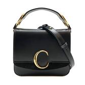 【台中米蘭站】全新品 CHLOE C Bag 滑面牛皮拚麂皮手提斜背二用包-小 (黑)