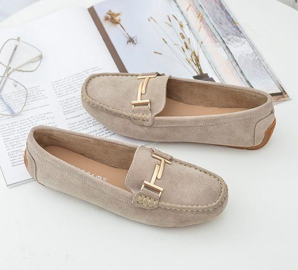大尺碼女鞋小尺碼女鞋方頭雙T扣鍊鋪毛真皮豆豆鞋平底鞋包鞋米色(36-44)現貨#七日旅行
