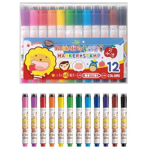 奶油獅SM-001 12色印章彩色筆