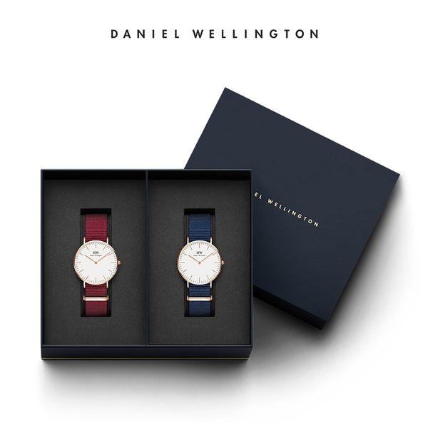 Daniel Wellington DW 禮盒 36mm金框玫瑰紅織紋錶+40mm金框星空藍織紋手錶