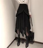 網紗裙復古不規則黑色網紗裙女秋冬2020中長款裙子高腰A字裙半身裙新品