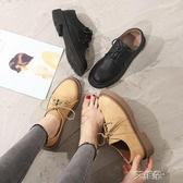 布洛克鞋英倫鞋子女秋季韓版百搭平底單鞋軟妹原宿學生ins小皮鞋   艾維朵