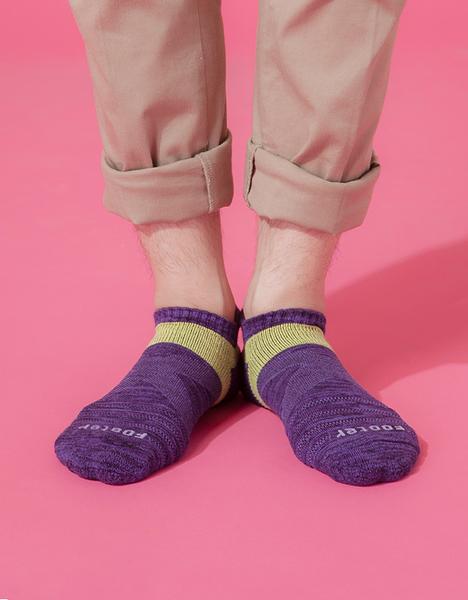 【 Footer 除臭襪】繽紛花紗輕壓力足弓船短襪 紫 24-27CM 男 (任選6雙960元)