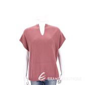 ALLUDE 莓紅色前短後長設計短袖羊毛針織上衣(70%WOOL) 1710089-21