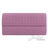 茱麗葉精品【全新現貨】BOTTEGA VENETA 261995 經典編織小羊皮扣式長夾.粉紫