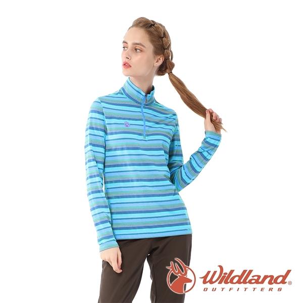 【wildland 荒野】女 彈性立領拉鍊緹花條紋衣『冰河藍』0A82603 戶外 休閒 運動 露營 登山