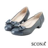 SCONA 全真皮 都會OL舒壓跟鞋 灰色 9938-2