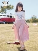 女童褲子夏裝薄款2019新款兒童寬鬆休閒童裝中大童百褶雪紡闊腿褲