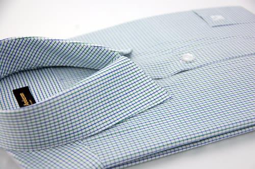 【金‧安德森】藍x綠中格紋長袖襯衫