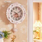 田園歐式鐘表掛鐘客廳家用大氣美式復古個性靜音臥室北歐石英鐘表    伊芙莎