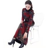 洋裝 高貴民族風加絨過膝闊太太連身裙加厚媽媽打底配大衣的長裙秋冬