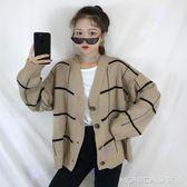 秋冬女裝韓版BF風寬鬆格子開衫毛衣外套中長款長袖休閒針織衫上衣 莫妮卡小屋