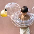 透明金小鴨 INS風 兒童泳圈 可愛鴨子造型 動物 游泳圈 裝飾直播小物 小朋友充氣玩具