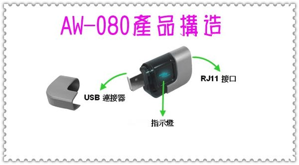 Skype網路電話轉接盒AW-080