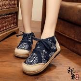圓頭寬鬆民族風布鞋編織中國風龍圖騰系帶女鞋漁夫鞋戶外鞋女 降價兩天