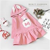 純棉 兔子蝴蝶結口袋兔耳連帽刷毛洋裝 保暖 厚款 冬 粉紅 女童洋裝 連帽 刷毛 女童 甜美