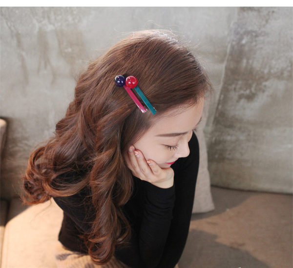 【O-ni O-ni】韓版女性亞克力髮夾圓球糖果型款式鴨嘴夾S925-41紅色