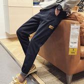 男士九分牛仔褲寬鬆正韓潮流小腳哈倫褲黑色褲子百搭潮學生【快速出貨八五折促銷】