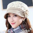 貝雷冬帽子-韓版女款羊毛呢花朵保暖八角南...
