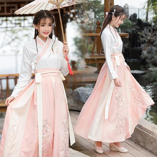 漢服女改良中國風古裝女仙女飄逸清新淡雅襦裙學生古風日常裝套裝
