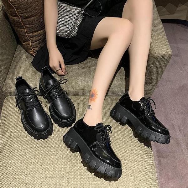 牛津鞋 單鞋女2021年新款韓版百搭時尚鬆糕厚底增高小皮鞋英倫風圓頭系帶 歐歐