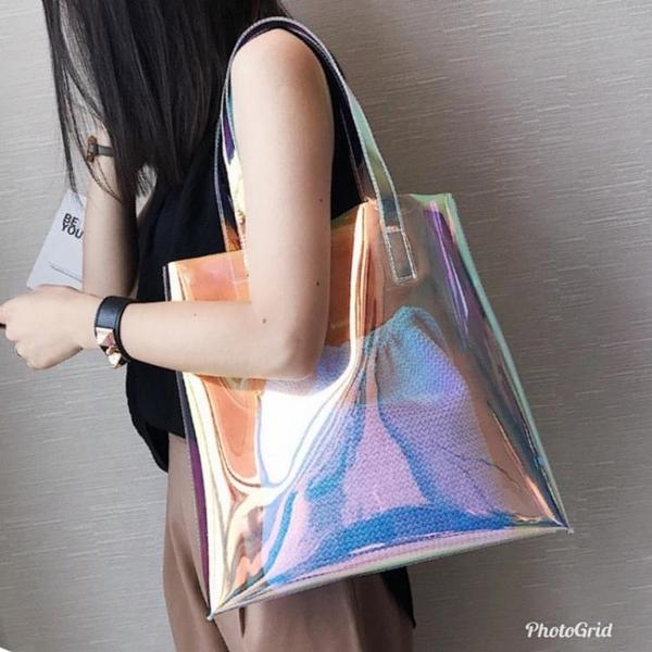 果凍包 透明包包女大容量炫彩百搭側背鐳射果凍包2021韓版時尚學生手提包 嬡孕哺