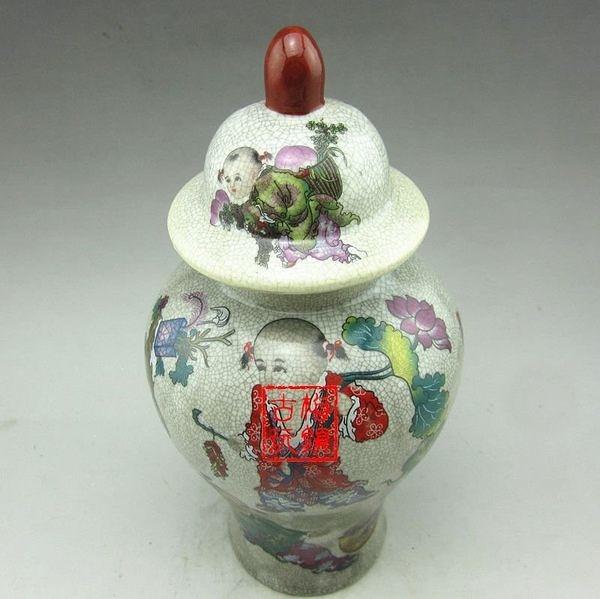 陶瓷琺琅彩 將軍罐儲物罐 嬰戲 裂紋花瓶