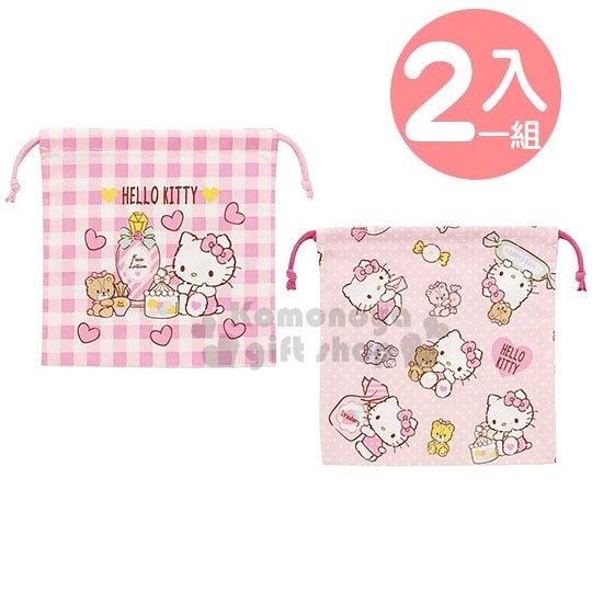 〔小禮堂]Hello Kitty 棉質束口袋組《2入.粉.糖果罐》20x20cm.收納袋.縮口袋 4973307-41795