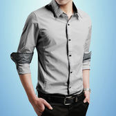 韓版商務寸衫青年純棉純色休閒短袖