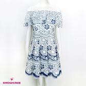 【SHOWCASE】甜美碎花蕾絲透肩網紗領洋裝(藍色)