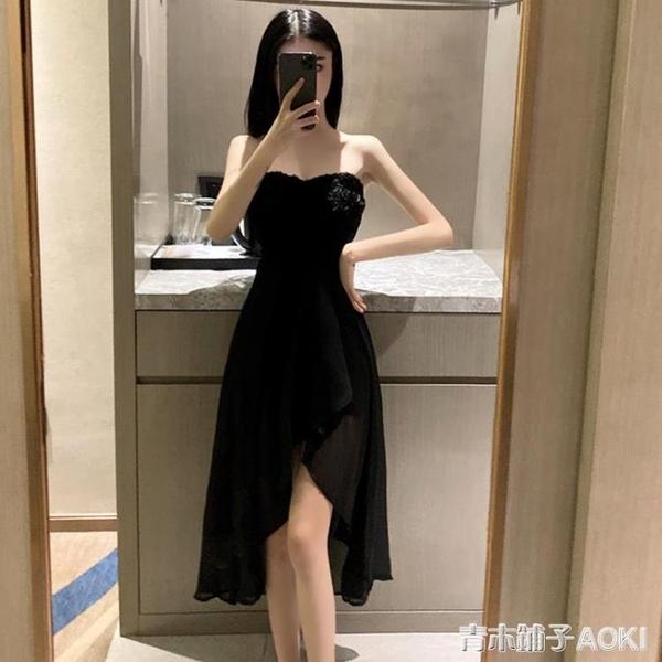 宴會網紗小禮服女夏新款性感抹胸V領露背修身顯瘦燕尾洋裝 青木鋪子
