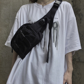 胸前包 胸包帆布ins韓版2020新款原宿嘻哈百搭工裝斜挎單肩包男女包包潮 零度