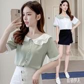 雪紡衫OL上衣女2020年夏季新款韓版超仙女洋氣質襯衫娃娃領小衫短袖 LR25483『紅袖伊人』