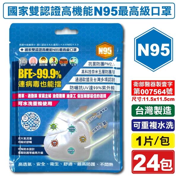 台灣精碳 N95醫用口罩 1入X24包 (國家認證 可水洗重複使用 台灣製) 專品藥局【2018539】
