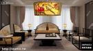 INPHIC-現代中式圓形手繪國畫布藝吊燈古典酒店餐廳臥室客廳書房中式吊燈-直徑50cm_S3081C