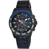 【J.SPRINGS】Chronograph Sports雙眼計時手錶 (黑面/藍/黑色IP鋼帶 JSBFD066)