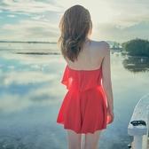 小碼S游泳衣女復古大紅色泡溫泉款保守遮肉2019新款連體裙式泳裝