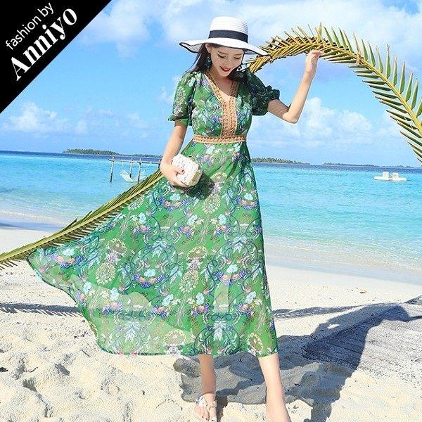 Anniyo安妞‧V領短袖燈籠袖波希米亞海邊度假印花雪紡修身顯瘦開叉沙灘裙長裙長洋裝 綠底碎花